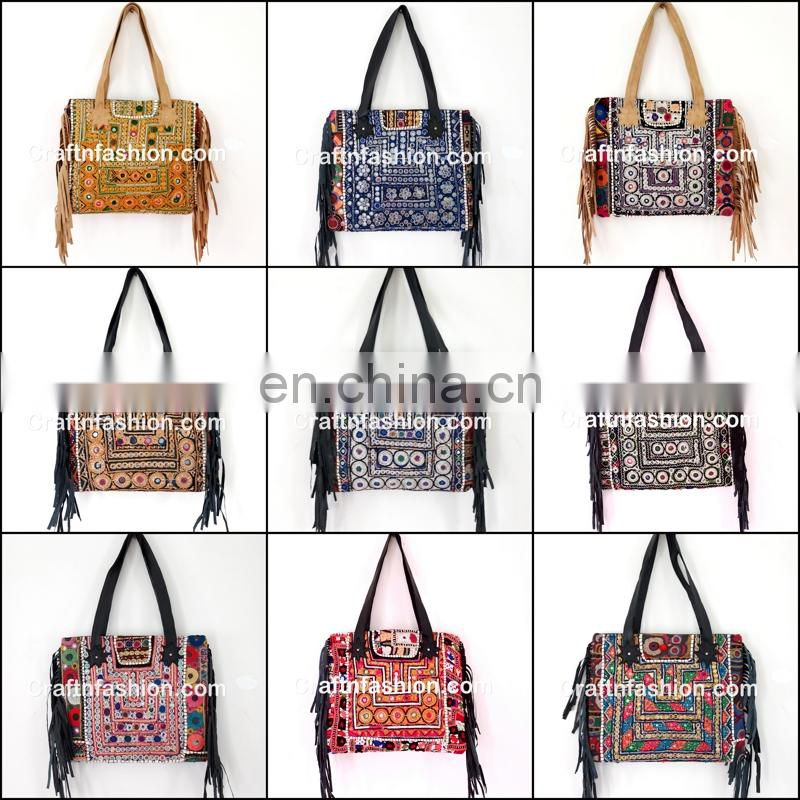 Tribal Banjara Boho Leather Bag- Vintage Embroidery Banjara Leather tote Handbag-Gypsy banjara leather fringe tote bags-
