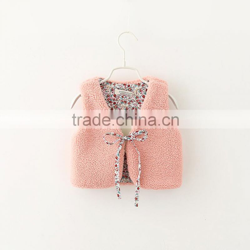 2015 Autumn & Winter Children Vest All-match Girl Lamb Wool Fur Coat Baby Girl Outwear With Fur Balls