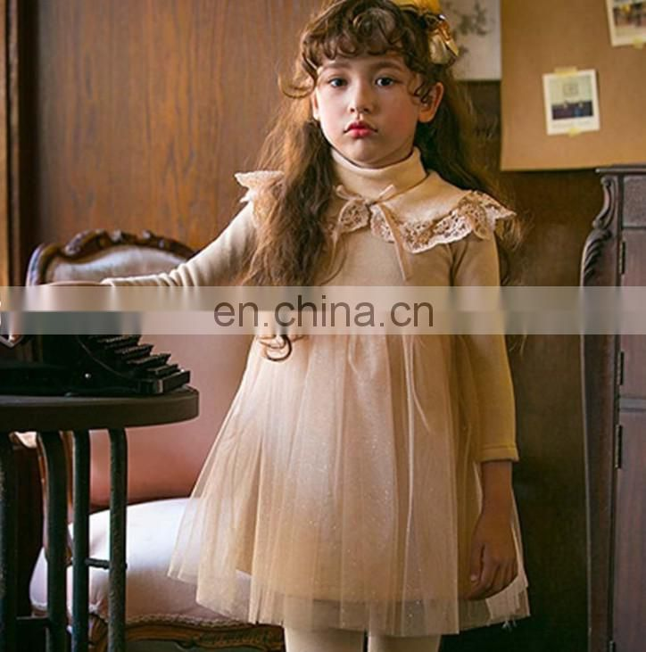 Vintage Khaki Baby Girl Dress Long Sleeve Lace Tulle Dress