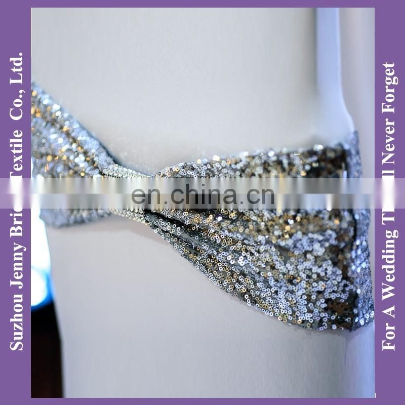SH050L silver spandex sequin chair bands chair sash with buckle