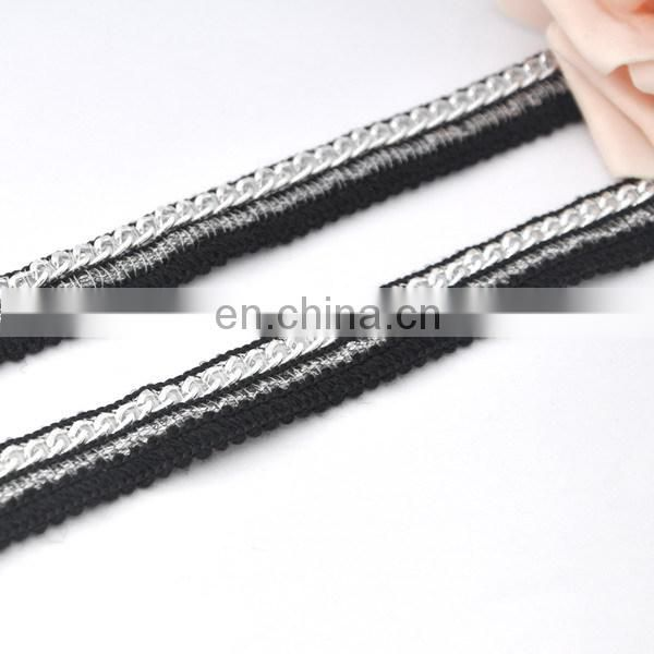 hot sale embroidery lace trim with metal chain lace trimmings