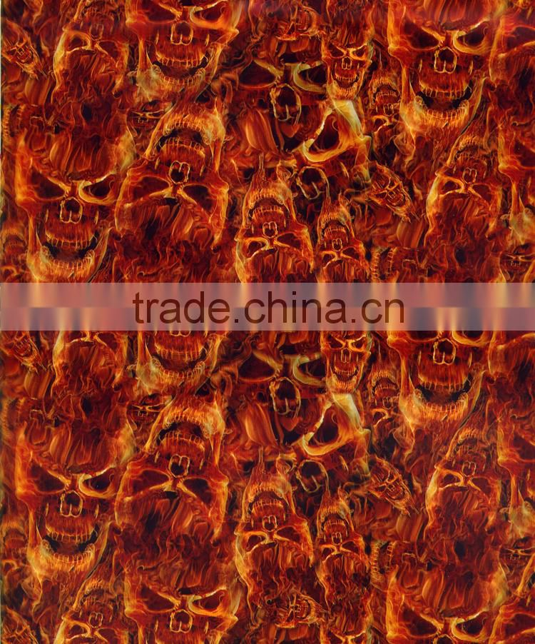 Wholesale Dazzle Graphic No.DGMA143-1 Flaming Skull Heads Pattern Hydro Dipping Kits Water Transfer Printing Hydrographics Film
