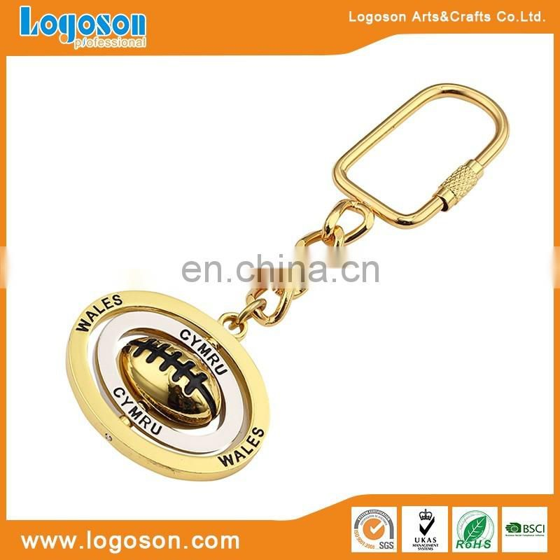 Promotional Custom Shape Souvenir Wales Gold Plating Spinning Keychain