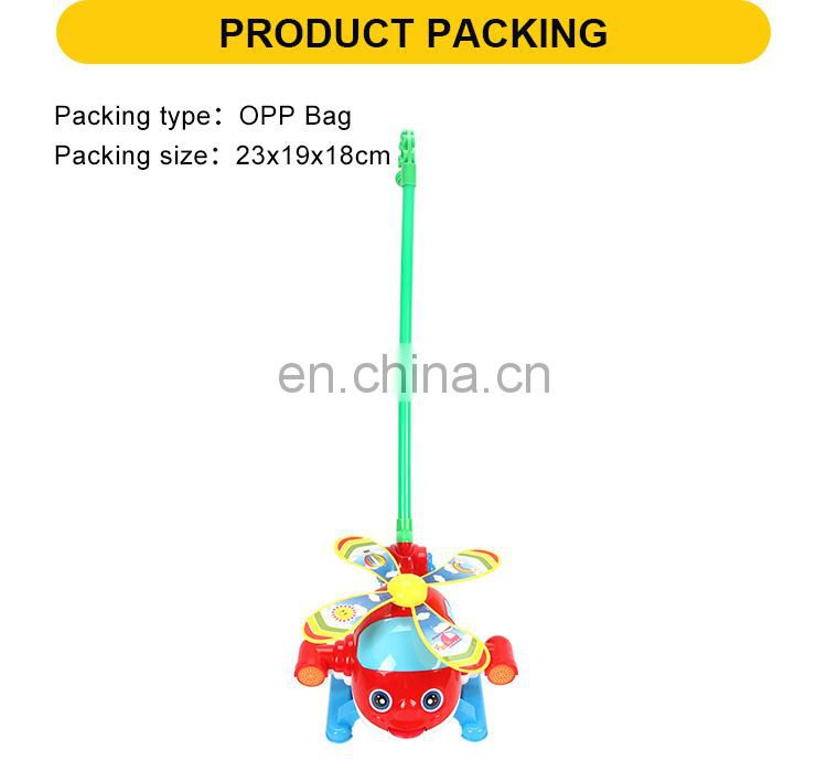 23cm free wheel hand trolley toys for kids helicopter