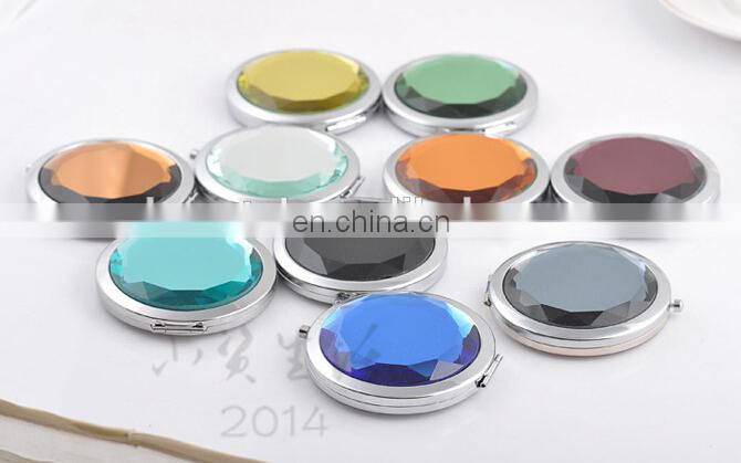 colorful round acrylic decoration compact mirror metal pocket mirror
