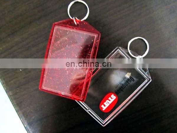 Square shape with custom design logo inserted Acrylic keychain