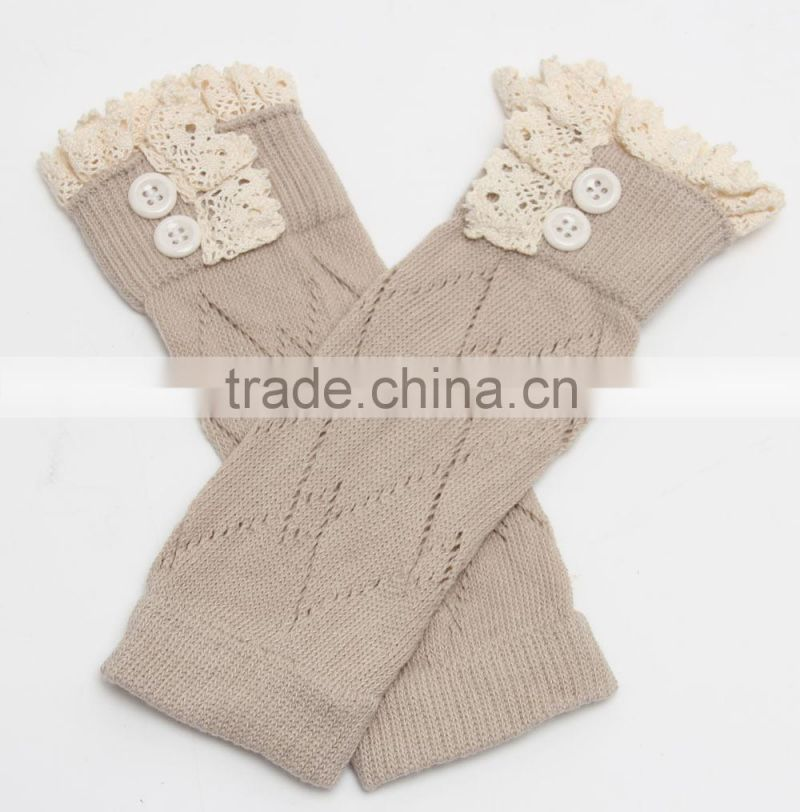 2015 Tights Leg Warmers Baby Kids Girl's Crochet Knitted Button Toppers Lace Leg Warmers Trim Boot Cuffs Socks LW-31