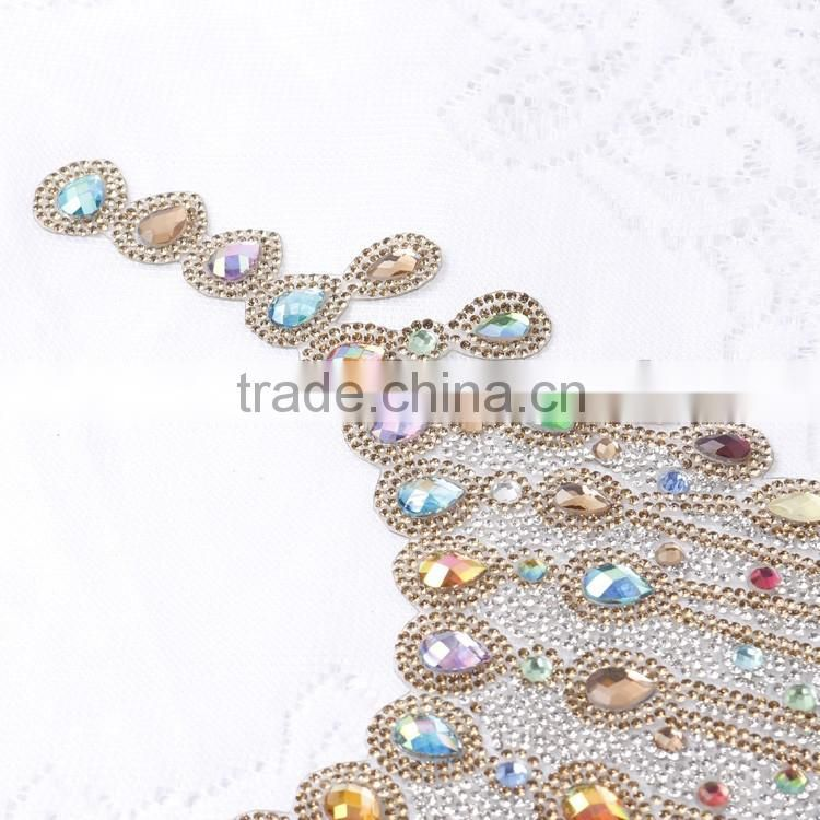Mixed beads and Rhinestones Half Round Bridal Motif Neckline Applique for Dress