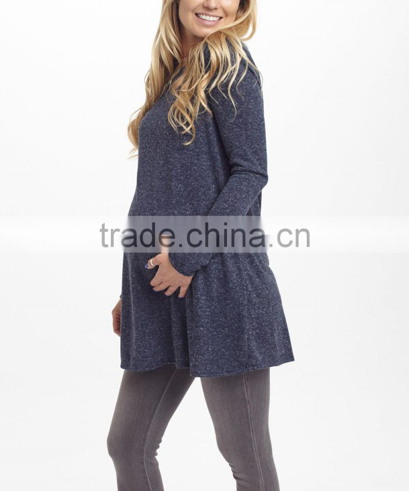 Clearence Long Sleeve Maternity T-Shirt With Navy Heather Cutout-Back Maternity Tunic Tops Women Wear WT80817-65