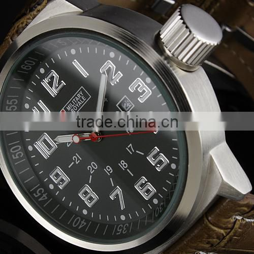 MR031 Brand New mens man analog army military leather wrist watch