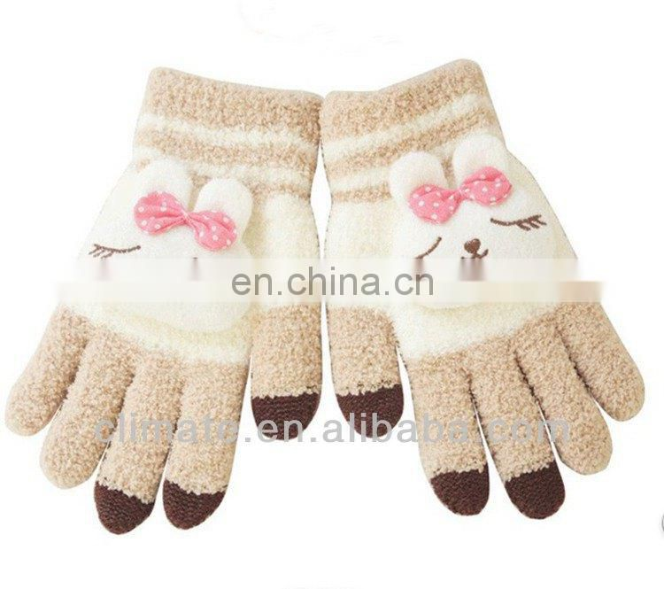 Fashion soft plush touch screen gloves with lovely toy