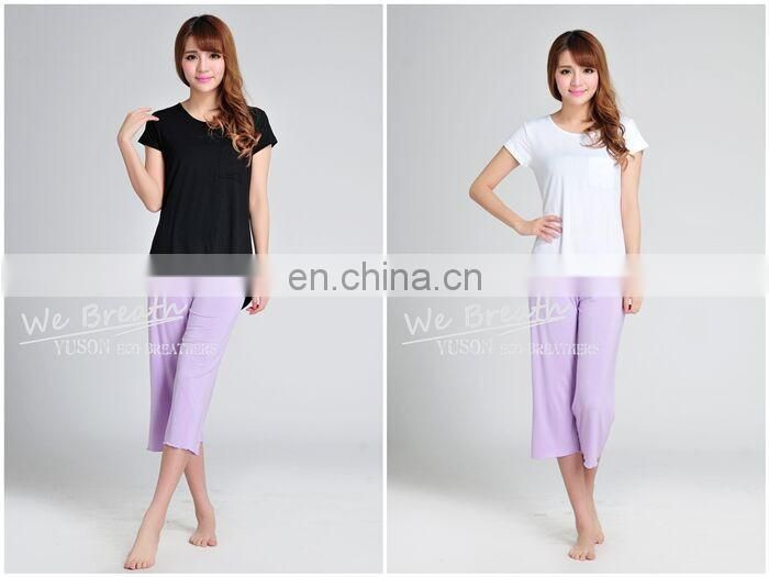 Ladies' Bamboo Pocket T-shirt Asymmetry Design Longer Back Short Front