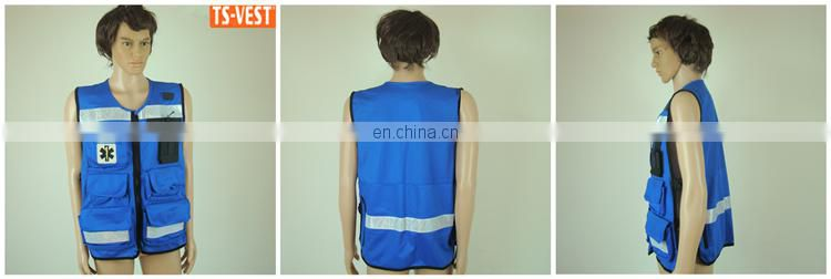 Blue Cheap OEM design Reflective Fishing Vest