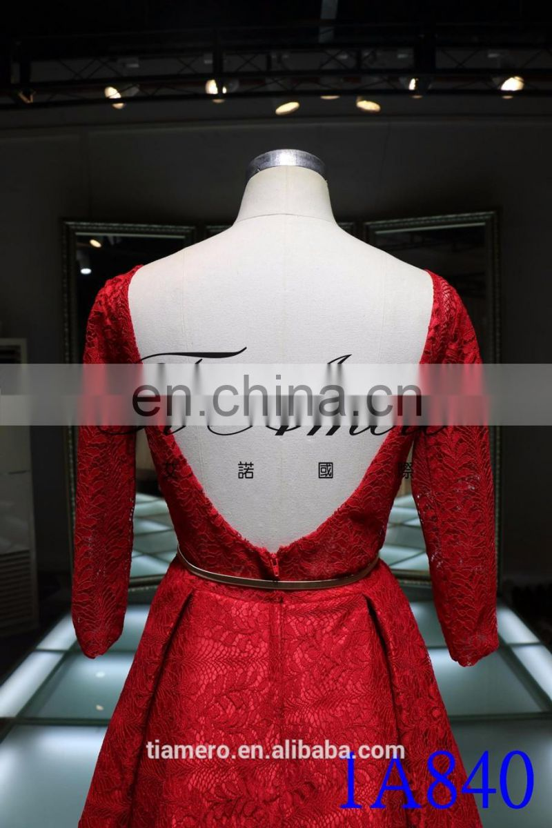 1A840 Romantic Red V-Neck Back Open Lace 3/4 Sleeve Trailed Ball Gown Evening Dress