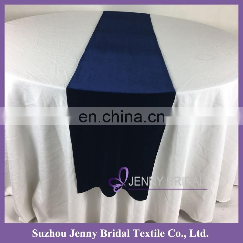 TR039B wedding decoration blue velvet table runners custom