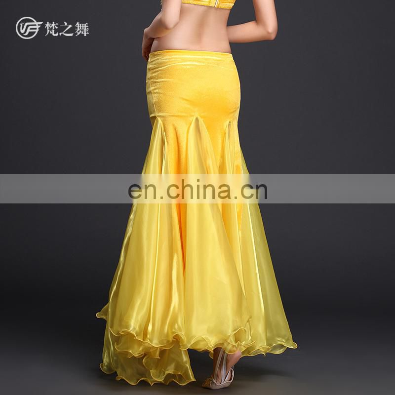 Q-6038 High velvet and organza egypt professional long sexy belly dance skirt