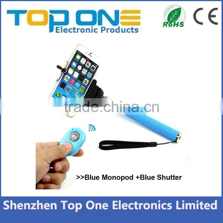 2015 Amazon top selling extendable handheld monopod Selfie stick bluetooth