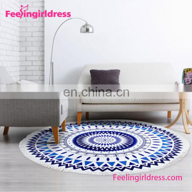 Mandala Ombre Design Swimwear Mat Beach Towel Hippie Custom Printed Round Tapestry