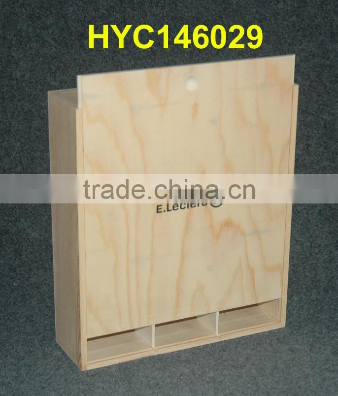 natural unfinished wooden 3 bottle wine box with sliding lid wholesale