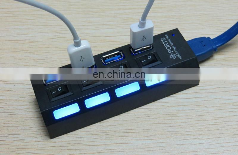 Portable USB Hub 5Gbps 4 Port Hub USB 3.0 Hub With On/Off Switch for Laptop PC