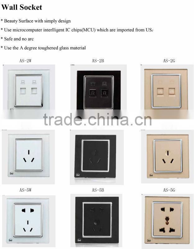 wall socket 2 poles /3 poles /5 poles golden, white, black