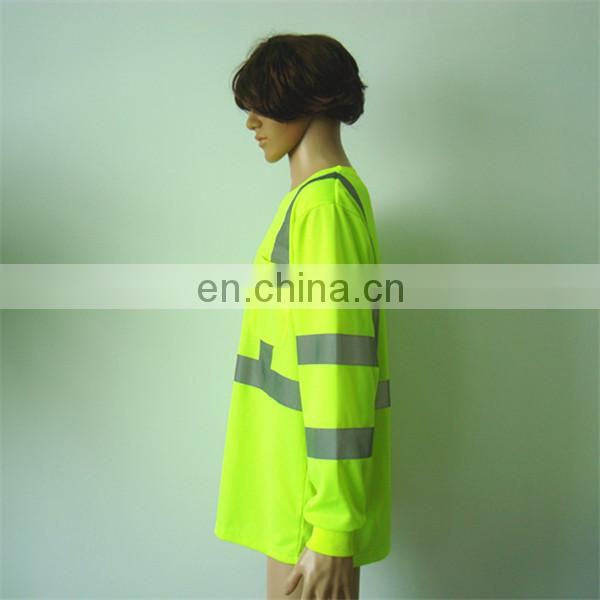 Yellow Reflective Safety T-shirt with Long Sleeves