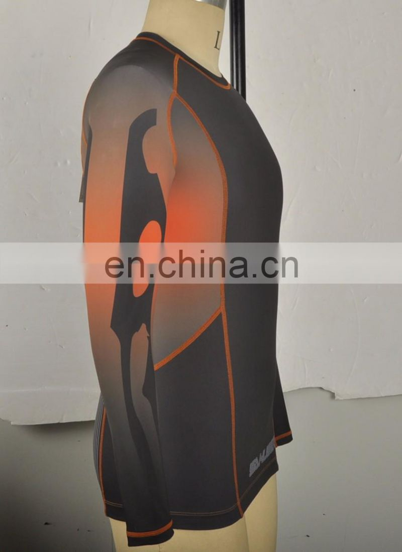 China made custom logo polyester long sleeve rashguard lycra rash guard