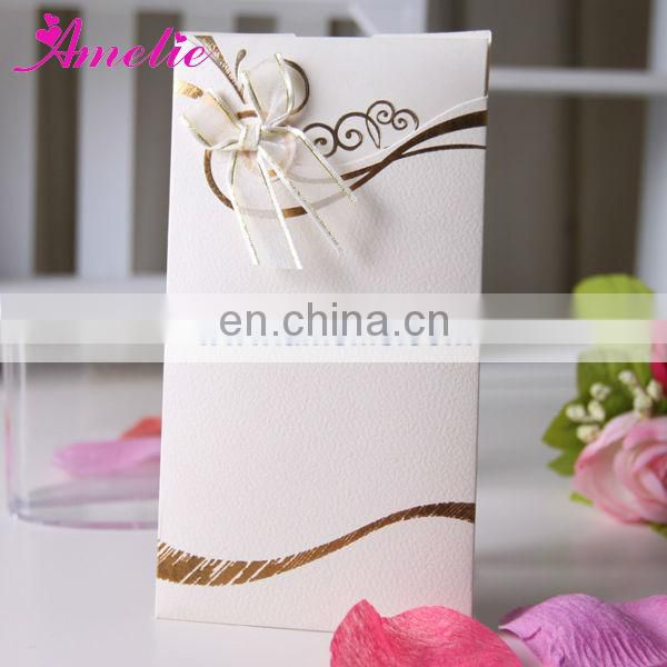 AT016 White And Brown Blue Cheap Wedding Invitations