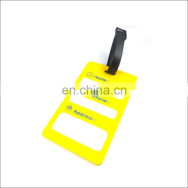 Custom yellow pvc rubber luggage tag wholesale