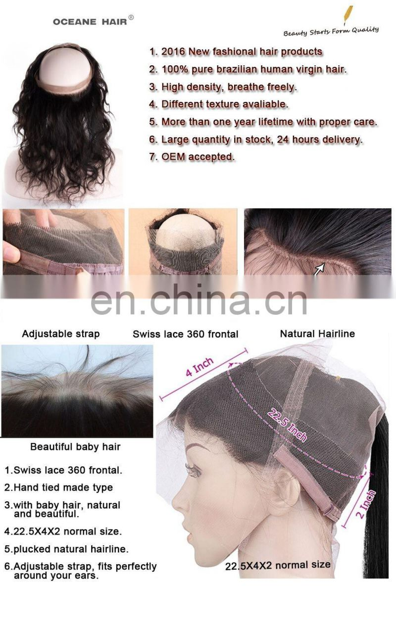 wholesale newest 360 frontals 360 Lace Band Frontal 22.5*4*2