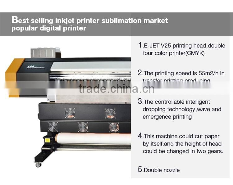 High quality digital 1 8m/6ft fabric roll to roll printing machine