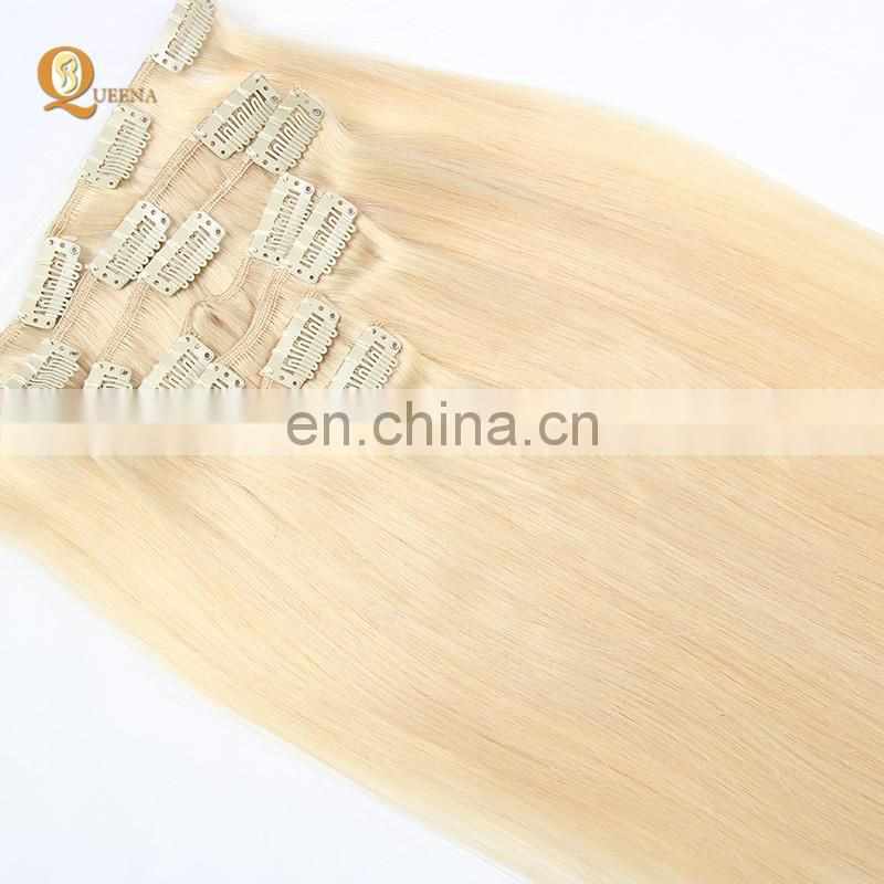 Factory Wholesale Platinum Blonde Indian Human Hair 150g 220g Remy Clip in Hair Extension