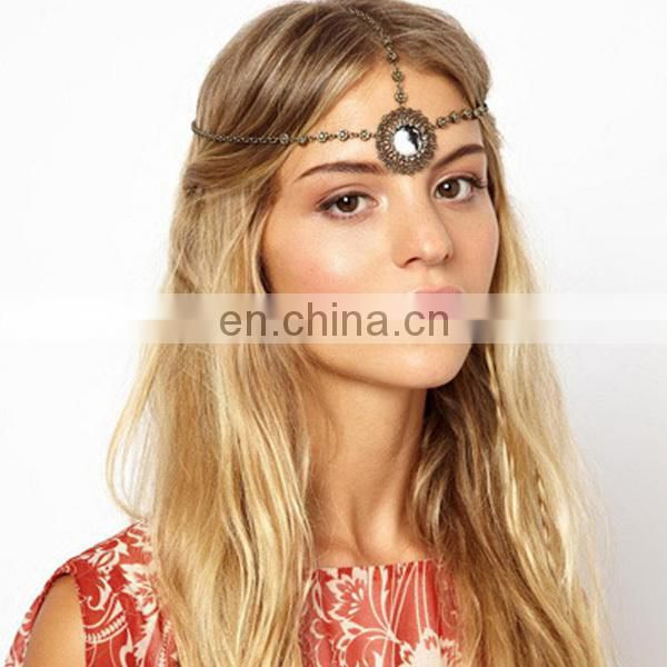 Vintage fashion gemstone jewelry head chain