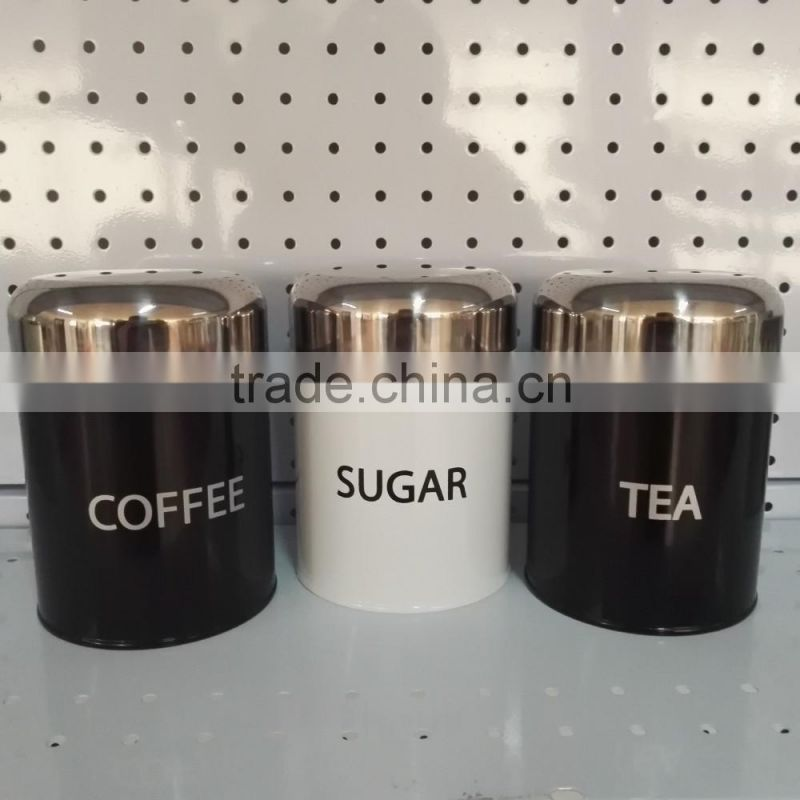 3PC Canister Set Stainless Steel Coffee Tea Sugar Jar Lid Kitchen Storage Black Can