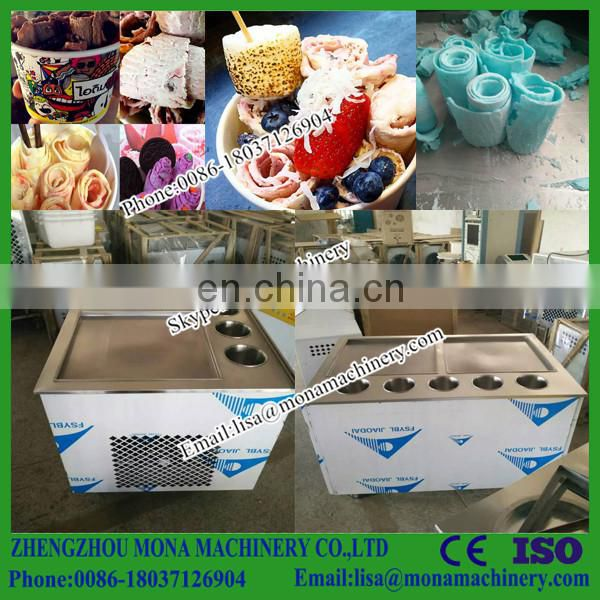 Alibaba high output comercial double flat pan fried ice machine/electric fruit ice cream maker/ice cream making machine Image