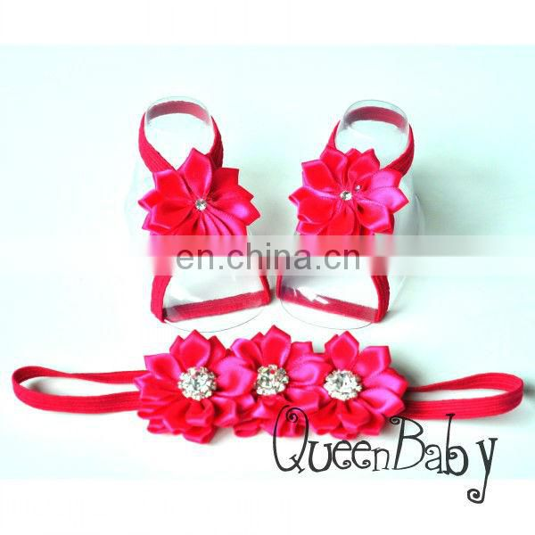 Baby Barefoot Sandals Satin Flower with thin Elastic Matching Headband