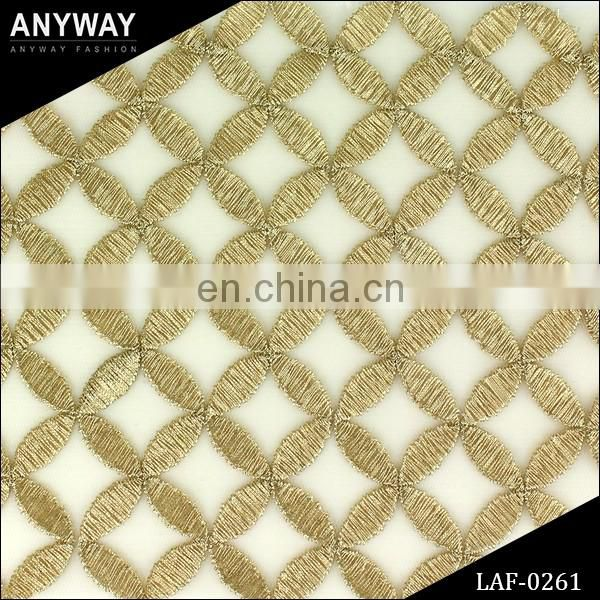 Stylish chemical lace embroidery fabric;luxury sexy eyelash lace for women wear;standard gold lace fabric