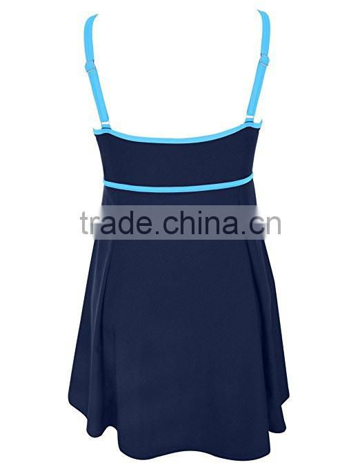 Backless Swimsuit Wholesale Women Ladies Bandeau Color Contrast Swimdress One Piece Bathing Suit High Waisted Swimsuit