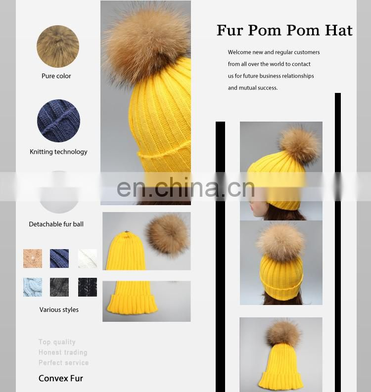 High quality winter lady hats for fashion genuine fur pompon beanie hats