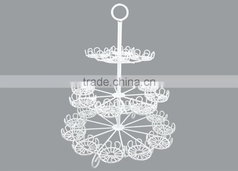 powder coated 3-tier Round Shape metal Wire Cupcake Stand-hold 24 cups