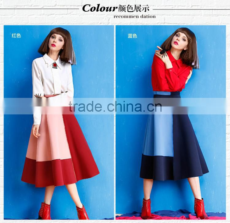2015 winter hot sale womens A-Line High Waist patchwork long skirt