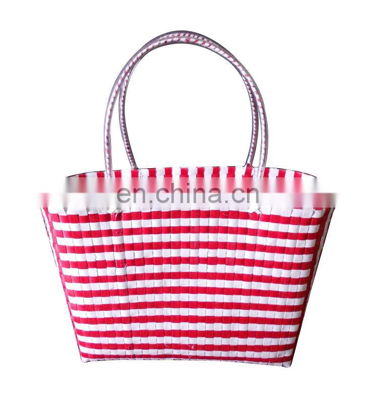 Red and white beach bag