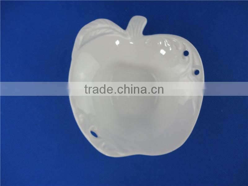 stock small white ceramic popcorn bowl apple shaped bowl
