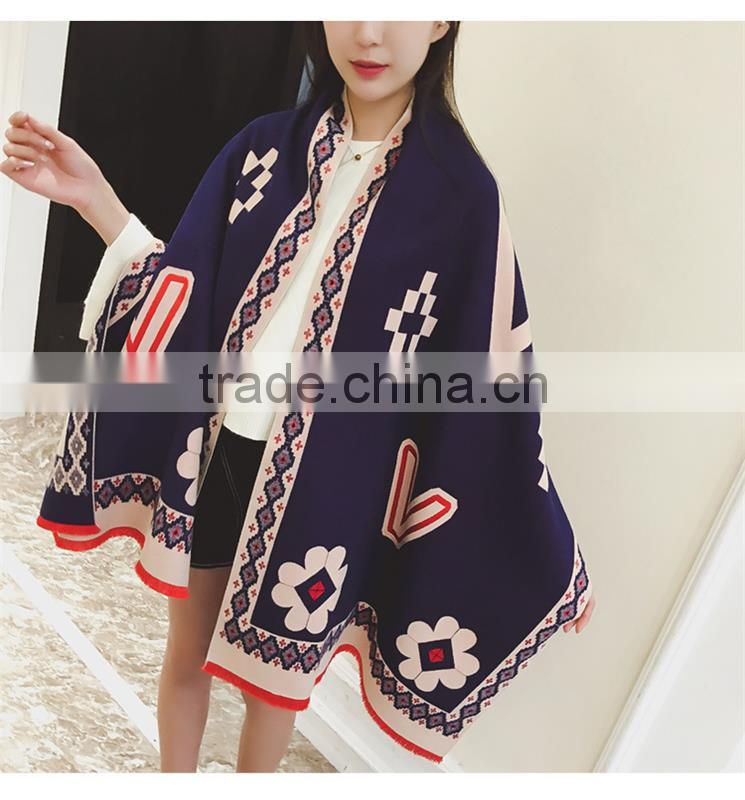 Luxury Brand Scarf Women 2016 Winter Faux Cashmere Scarf Soft Double Sided Dancing Girl Scarf