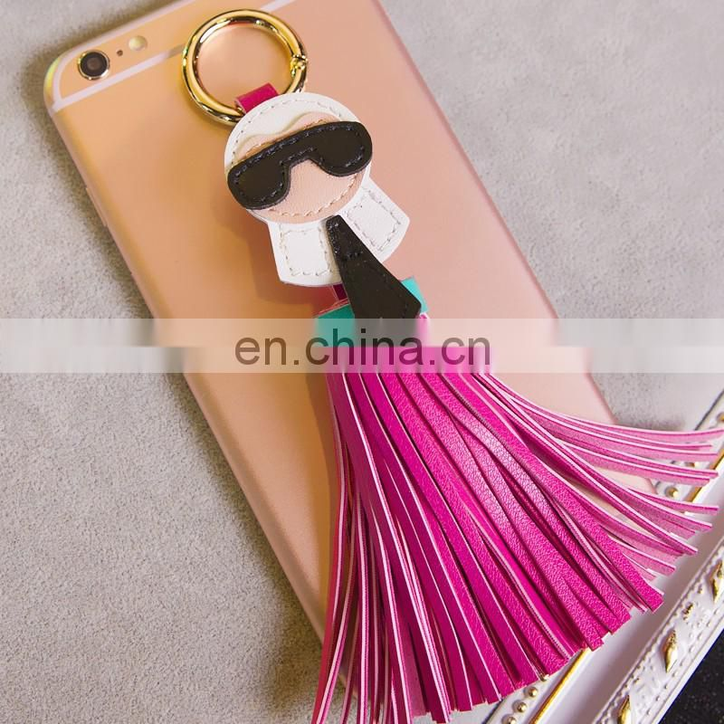 Fashion leather tassel monster keyring for ladies bag leather accessory