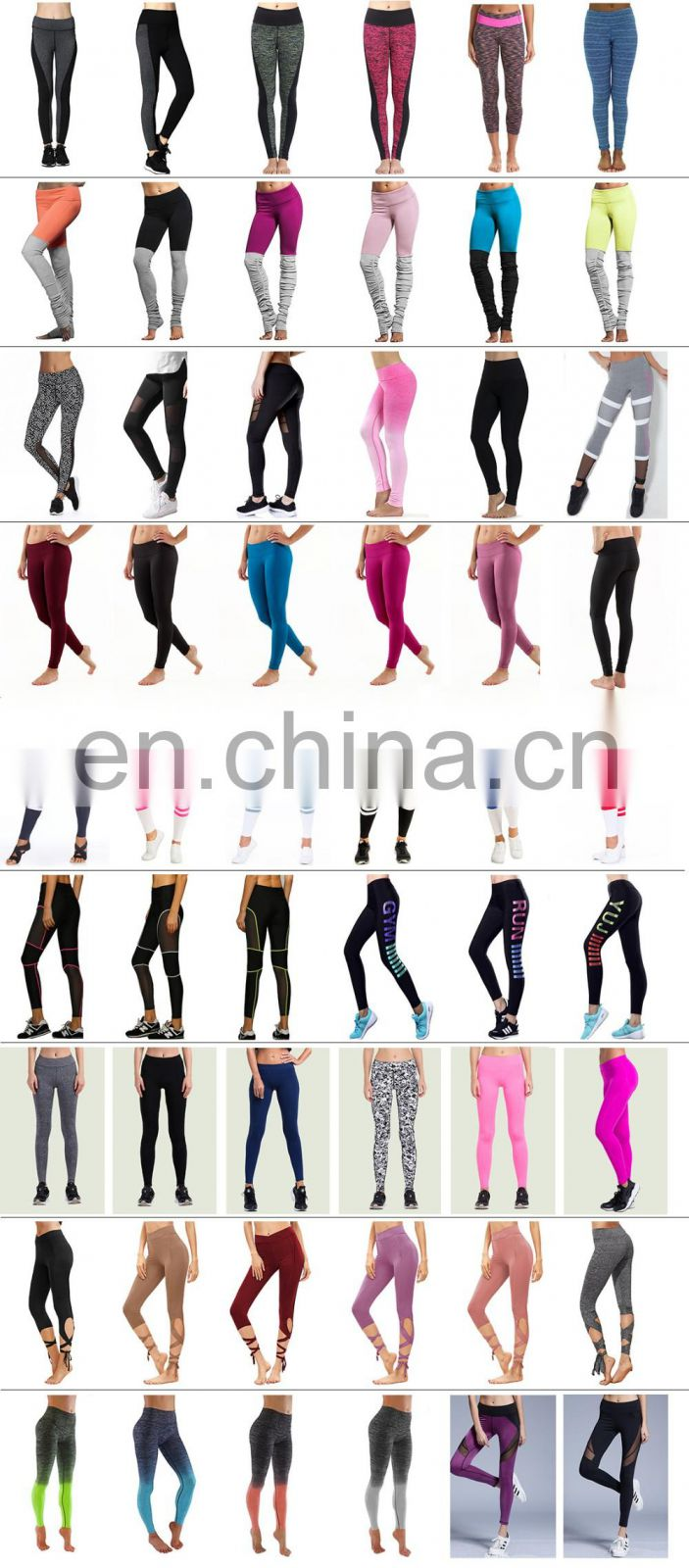 Line printed elastic stretch breathable fitness tight leggings for women