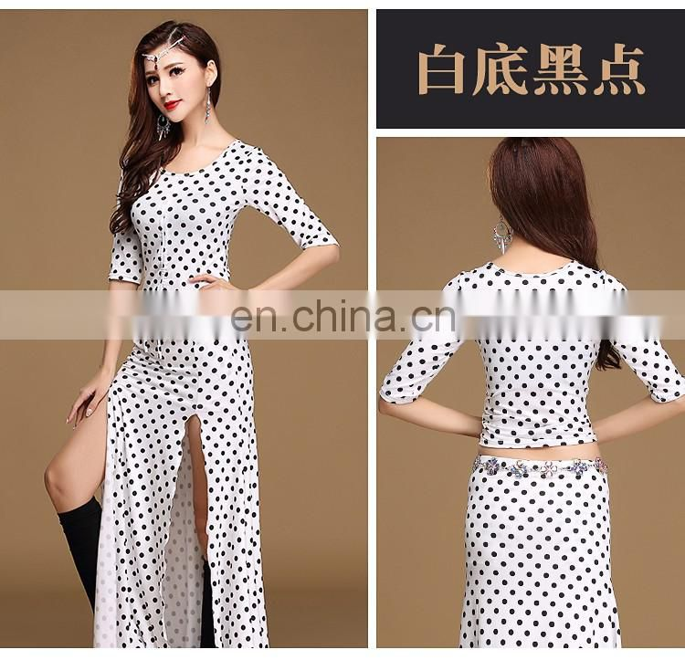 T-5151 Egyption newest arrival black and white dots stage bellydance top and skirt set