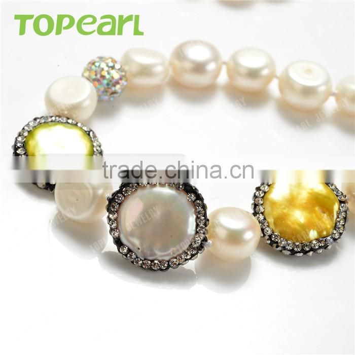 Topearl Jewelry White Freshwater Bread Pearls Multicolor Coin Beads Clay Rhinestones Necklace Shop for Sale FN494