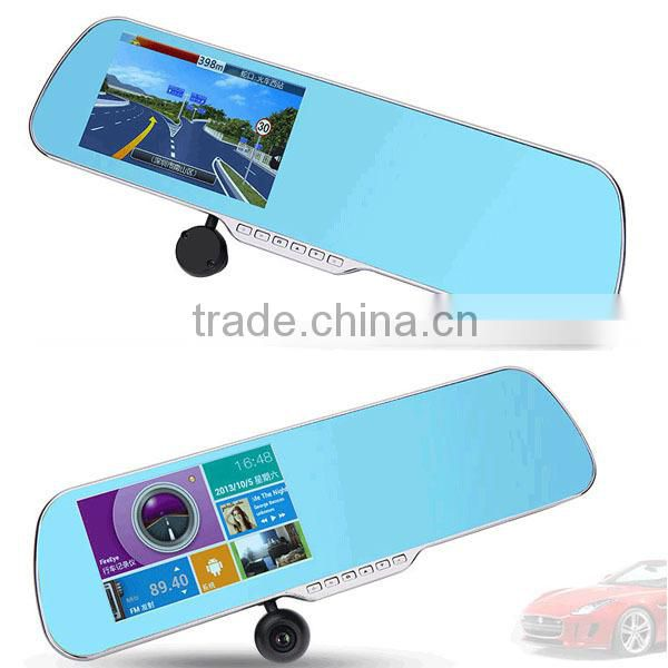 5 inch rearview mirror gps android dual camera DVR recorder