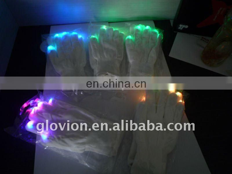Hot sale christmas party favor glow in the dark gloves LED flashing light gloves light-up gloves